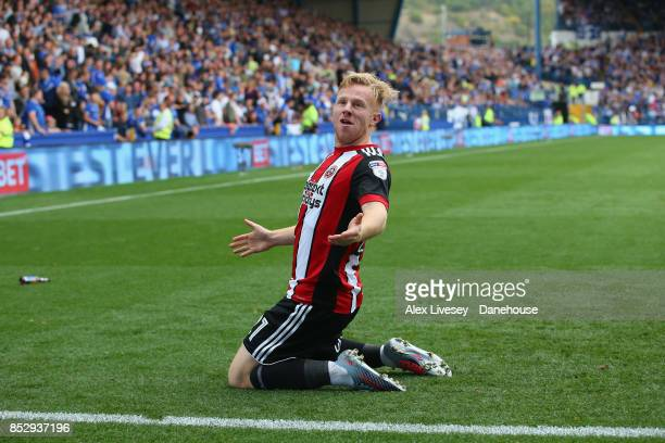 Mark Duffy of Sheffield United celebrates after scoring their third goal during the Sky Bet Championship match between Sheffield Wednesday and...