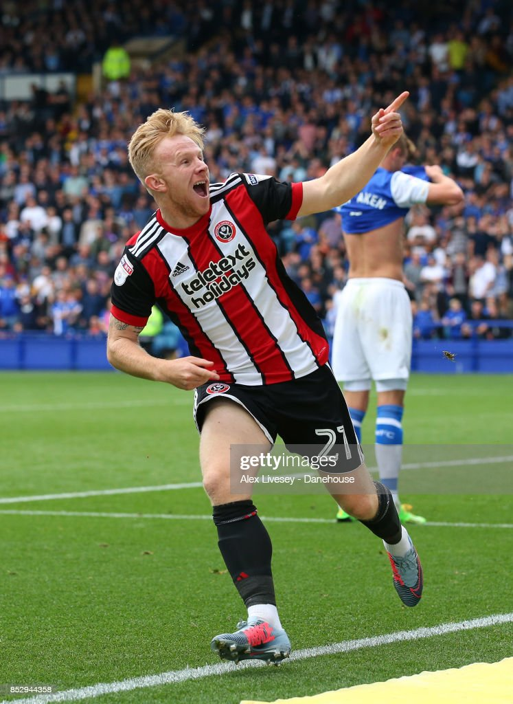 Mark Duffy of Sheffield United celebrates after scoring their third goal during the Sky Bet Championship match between Sheffield Wednesday and Sheffield United at Hillsborough on September 24, 2017 in Sheffield, England.