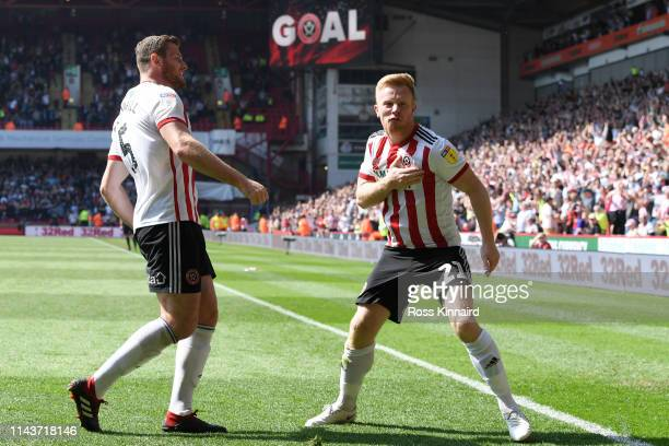 Mark Duffy of Sheffield United celebrates with team mate Jack O'Connell of Sheffield United after scoring their team's first goal during the Sky Bet...