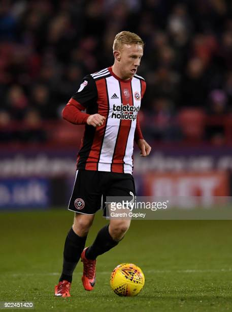 Mark Duffy of Sheffield United during the Sky Bet Championship match between Sheffield United and Queens Park Rangers at Bramall Lane on February 20...