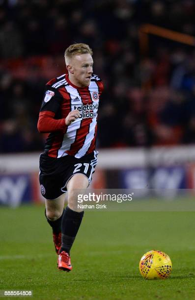 Mark Duffy of Sheffield United in action during the Sky Bet Championship match between Sheffield United and Bristol City at Bramall Lane on December...