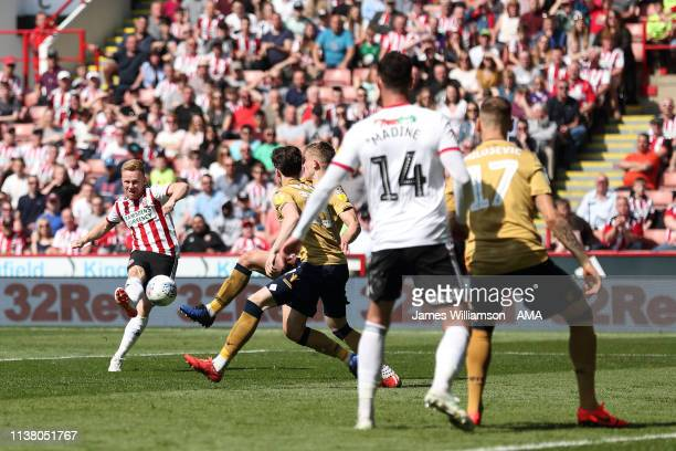 Mark Duffy of Sheffield United scores a goal to make it 10 during the Sky Bet Championship fixture between Sheffield United and Nottingham Forest at...