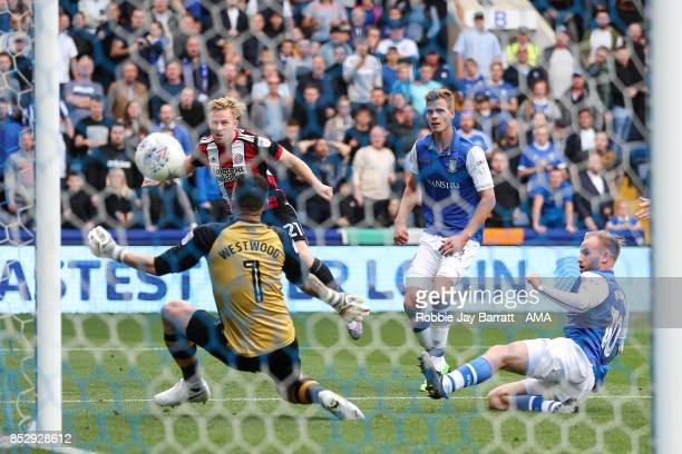 Mark Duffy of Sheffield United scores a goal to make it 23 during the Sky Bet Championship match between Sheffield Wednesday and Sheffield United at...