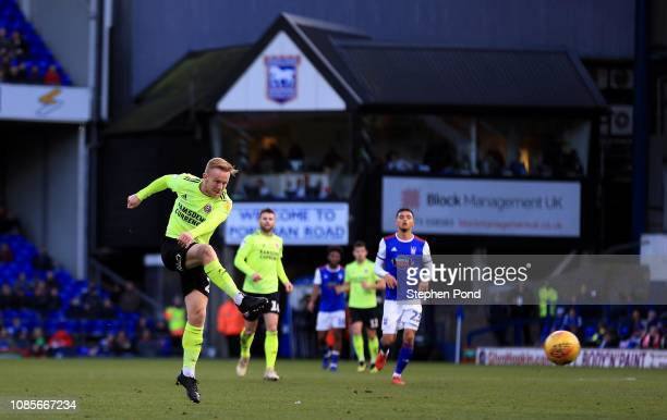 Mark Duffy of Sheffield United shoots during the Sky Bet Championship match between Ipswich Town and Sheffield United at Portman Road on December 22...