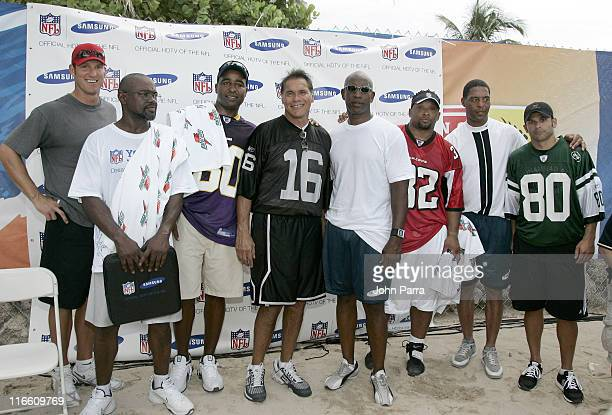Mark Duper Cris Carter Jim Plunkett Eric Dickerson Jamal Anderson Marcus Allen and Wayne Chrebet at a NFL Kickoff Flag Foot Ball Exhibition at the...
