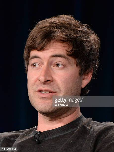Mark Duplass actor/writer/director speaks onstage during Togetherness panel as part of the 2015 HBO Winter Television Critics Association press tour...