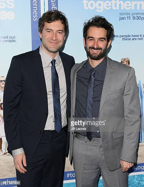 Mark Duplass and Jay Duplass arrive at the Premiere of HBO's 'Togetherness' held at Avalon on January 6 2015 in Hollywood California