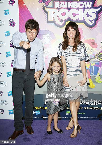 Mark Duplass daughter Ora Duplass and wife Katie Aselton arrive at the Los Angeles premiere of My Little Pony Equestria Girls Rainbow Rocks held at...