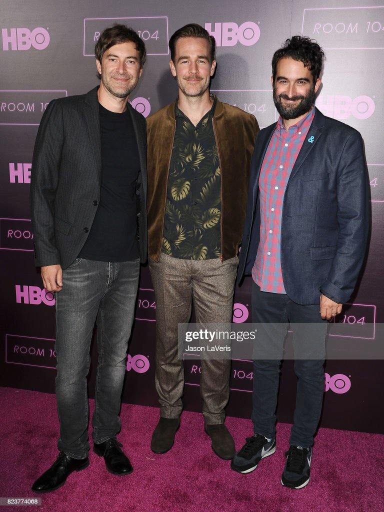 Mark Duplass, James Van Der Beek and Jay Duplass attend the premiere of 'Room 104' at Hollywood Forever on July 27, 2017 in Hollywood, California.