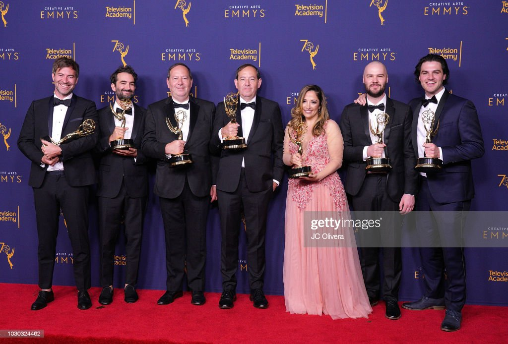 Mark Duplass, Jay Duplass, Josh Braun, Dan Braun, Juliana Lembi, Chapman Way, and Maclain Way, winners of the award for outstanding documentary or nonfiction series for 'Wild Wild Country' pose in the press room during the 2018 Creative Arts Emmy Awards at Microsoft Theater on September 9, 2018 in Los Angeles, California.