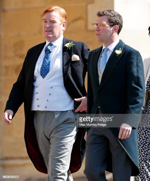 Mark Dyer and Jack Brooksbank attend the wedding of Prince Harry to Ms Meghan Markle at St George's Chapel Windsor Castle on May 19 2018 in Windsor...