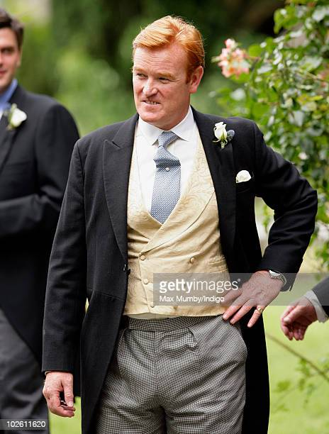 Mark Dyer arrives at St Edmund's Church for his wedding to Amanda Kline on July 3 2010 in Abergavenny Wales