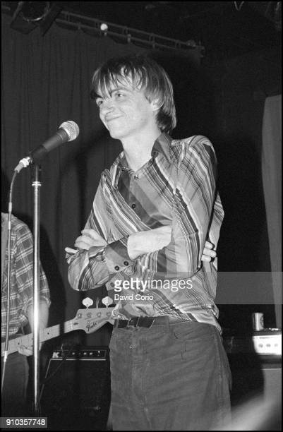 Mark E Smith of The Fall performing at The ICA London UK on 18 June 1980
