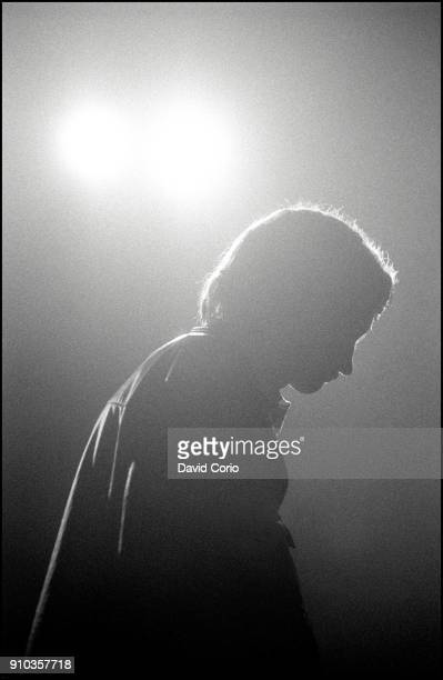 Mark E Smith of The Fall performing at The Lyceum Theatre London UK on 12 December 1982
