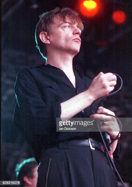 Mark E Smith of The Fall performing on stage at Slough Festival Slough United Kingdom 25 July 1992