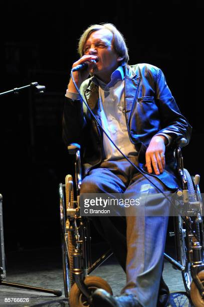 Mark E Smith of The Fall performs on stage at KOKO on April 1 2009 in London