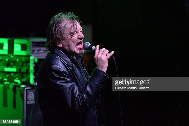 Mark E Smith of The Fall performs on stage at the CLUB THE MAMMOTH alldayer at The Arts Club on January 21 2017 in Liverpool United Kingdom