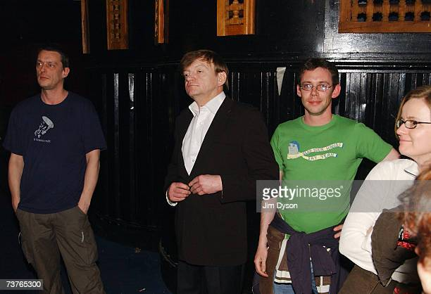 Mark E Smith of The Fall watches his band play from the audience at the Hammersmith Palais on April 1 2007 in London This was the last scheduled...