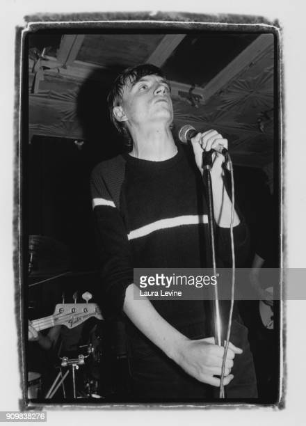 Mark E Smith of the rock band The Fall performs at Maxwell's in 1981 in Hoboken New Jersey