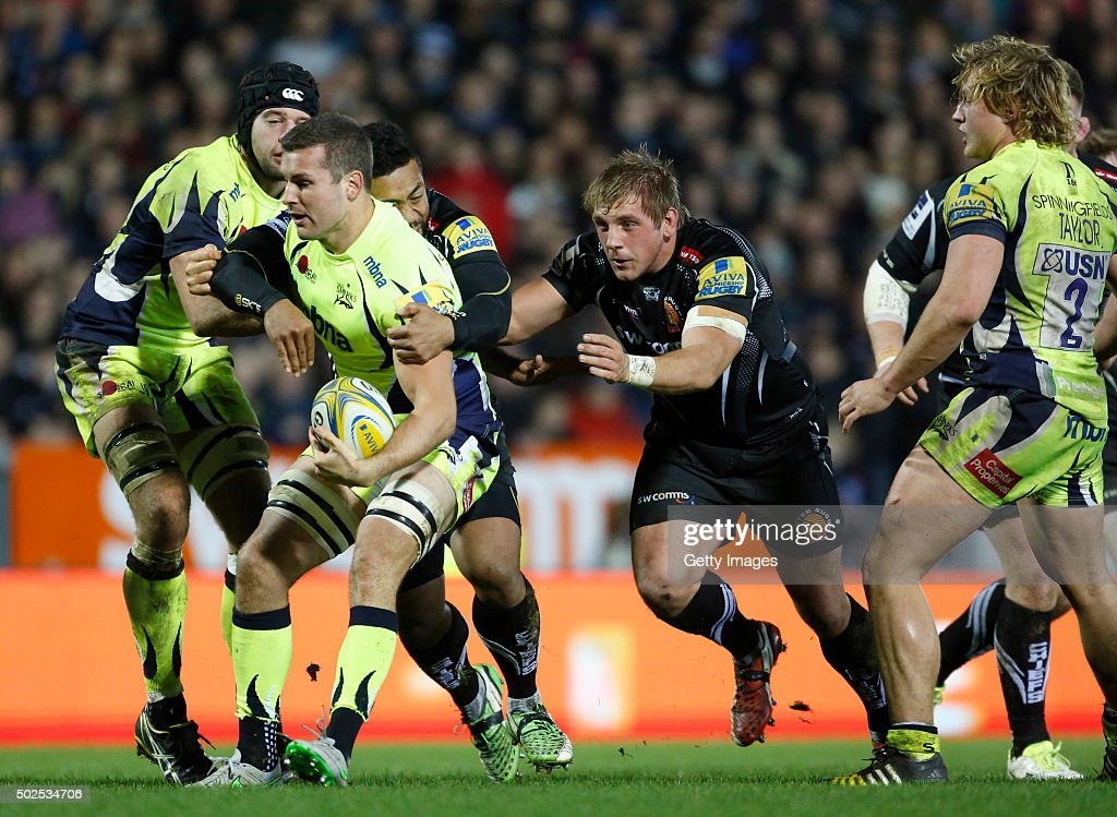 Mark Easter of Sale Sharks is stoped during the Exeter Chiefs v Sale sharks Aviva Premiership Match at Sandy Park on December 26, 2015 in Exeter, England.