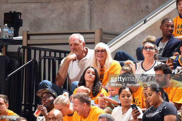 Mark Eaton attends a game between hhr and Utah Jazz during Game Four of the Western Conference Semifinals of the 2018 NBA Playoffs on May 6 2018 at...