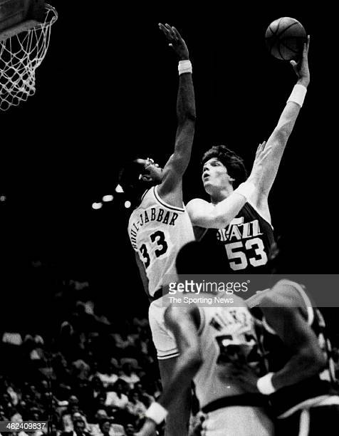 Mark Eaton of the Utah Jazz against Kareem Abdul Jabbar of the Los Angeles Lakers circa 1983 in Inglewood California