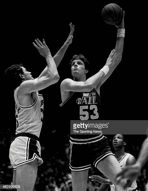 Mark Eaton of the Utah Jazz against the New Jersey Nets circa 1985