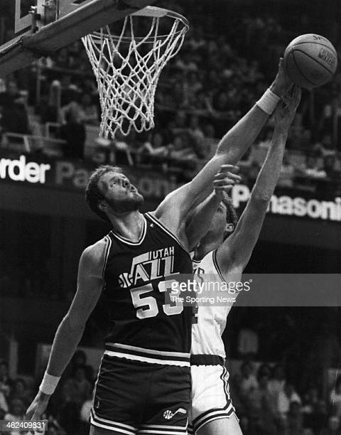 Mark Eaton of the Utah Jazz circa 1989 against the Boston Celtics
