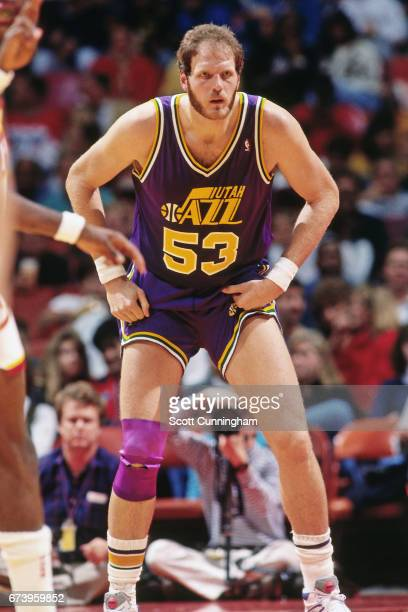 Mark Eaton of the Utah Jazz defends against the Atlanta Hawks during a game played circa 1990 at the Omni in Atlanta Georgia NOTE TO USER User...