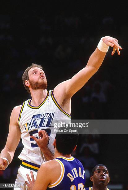 Mark Eaton of the Utah Jazz in action against the Los Angeles Lakers during an NBA basketball game circa 1990 at the Salt Palace in Salt Lake City...