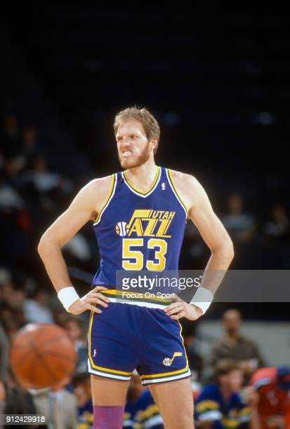 Mark Eaton of the Utah Jazz looks to looks on against the Chicago Bulls during an NBA basketball game circa 1989 at Chicago Stadium in Chicago...
