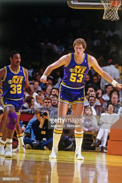 Mark Eaton of the Utah Jazz plays defense against the Los Angeles Lakers during a game played circa 1988 at the Great Western Forumin Inglewood...