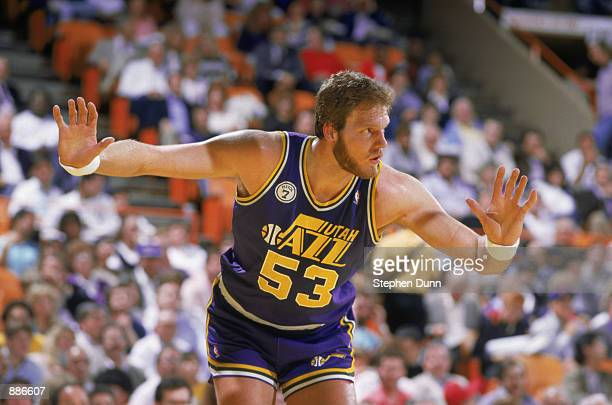 Mark Eaton of the Utah Jazz plays defense during an NBA game at The Salt Palace in Salt Lake City Utah in 1988