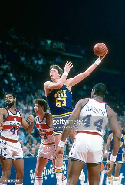 Mark Eaton of the Utah Jazz shoots against the Washington Bullets during an NBA basketball game circa 1984 at the Capital Centre in Landover Maryland...