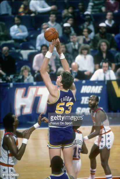Mark Eaton of the Utah Jazz shoots against the Washington Bullets during an NBA basketball game circa 1984 at the Capital Centre in Landover Maryland...