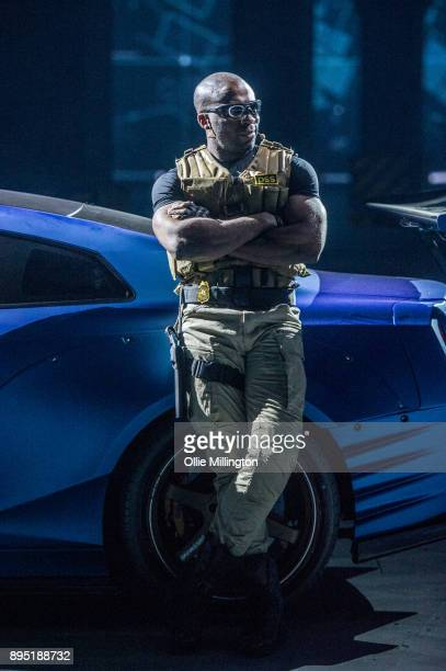 Mark Ebulue plays out a scne with a Nissan GTR 35 during the 'Fast Furious Live' technical rehearsal at NEC Arena on December 18 2017 in Birmingham...