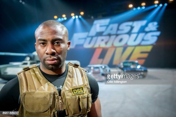 Mark Ebulue poses during the 'Fast Furious Live' technical rehearsal at NEC Arena on December 18 2017 in Birmingham England