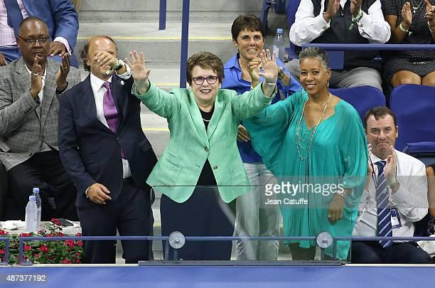 Mark Ein Ilana Kloss BJK's partner and USTA President Katrina Adams honor Billie Jean King during the Williams sisters match on day nine of the 2015...