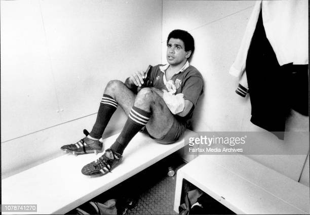 Mark Ellas Last game -- Ella in dressing room after match.Rugby Union... Randwick Vs. Bath at Coogee Oval. August 22, 1990.