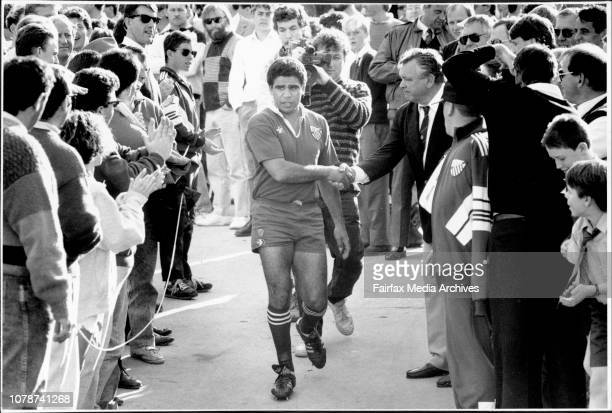 Mark Ellas Last game Mark Ella shake hands with Randwick coach Jeff Sayle as he walks out to play his last union matchRugby Union Randwick Vs Bath at...