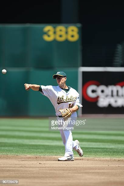 Mark Ellis of the Oakland Athletics fields during the game against the Los Angeles Angels at the Oakland Coliseum on July 19 2009 in Oakland...