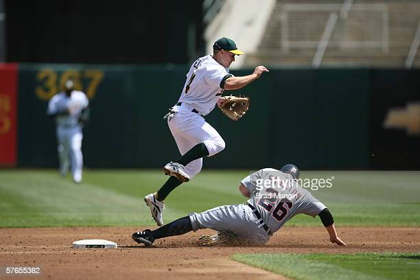 Mark Ellis of the Oakland Athletics leaps over a sliding Chris Shelton during the game against the Detroit Tigers at the Network Associates Coliseum...