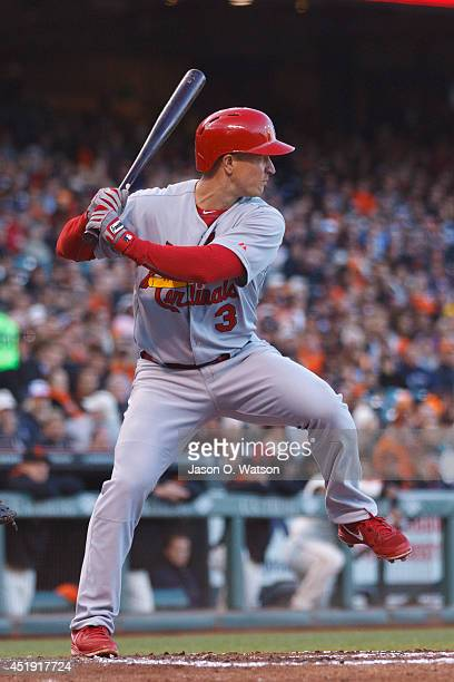 Mark Ellis of the St Louis Cardinals at bat against the San Francisco Giants during the third inning at ATT Park on July 2 2014 in San Francisco...