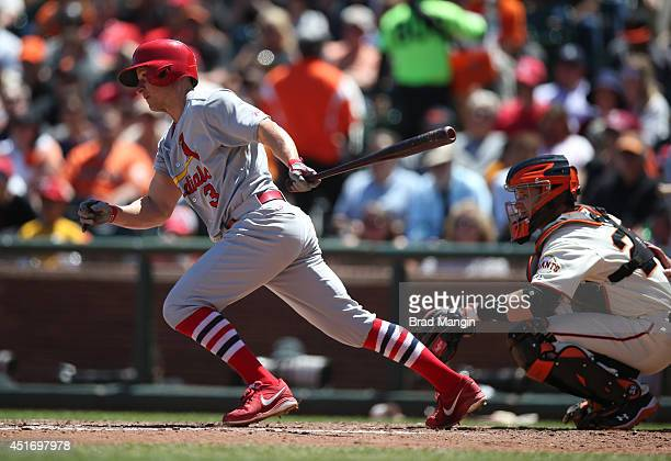 Mark Ellis of the St Louis Cardinals bats against the San Francisco Giants during the game at ATT Park on Thursday July 3 2014 in San Francisco...