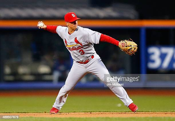 Mark Ellis of the St Louis Cardinals in action against the New York Mets at Citi Field on April 21 2014 in the Flushing neighborhood of the Queens...