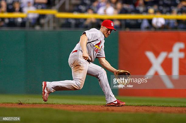 Mark Ellis of the St Louis Cardinals plays the field against the Pittsburgh Pirates during the game at PNC Park May 10 2014 in Pittsburgh Pennsylvania
