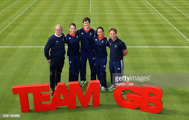 Mark England Chef de Mission Team GB Johanna Konta Jamie Murray Heather Watson and Iain Bates Team GB Tennis Leader pose for a picture after an...