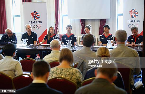 Mark England Team GBs Chef de Mission Dominic Mahony Modern Pentathlon Team Leader Kate French James Cooke Joe Choong Samantha Murray and Jan Bartu...