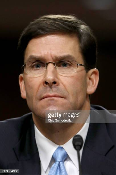Mark Esper testifies before the Senate Armed Services Committee during his confirmation hearing to be secretary of the US Army in the Dirksen Senate...