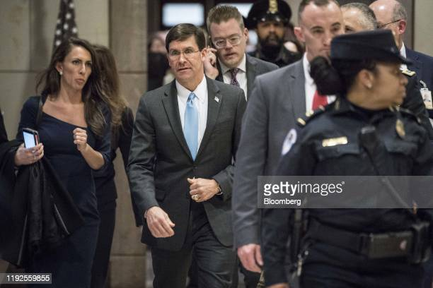Mark Esper US Secretary of Defense center departs from a closed door briefing with members of the House of Representatives at the US Capitol in...